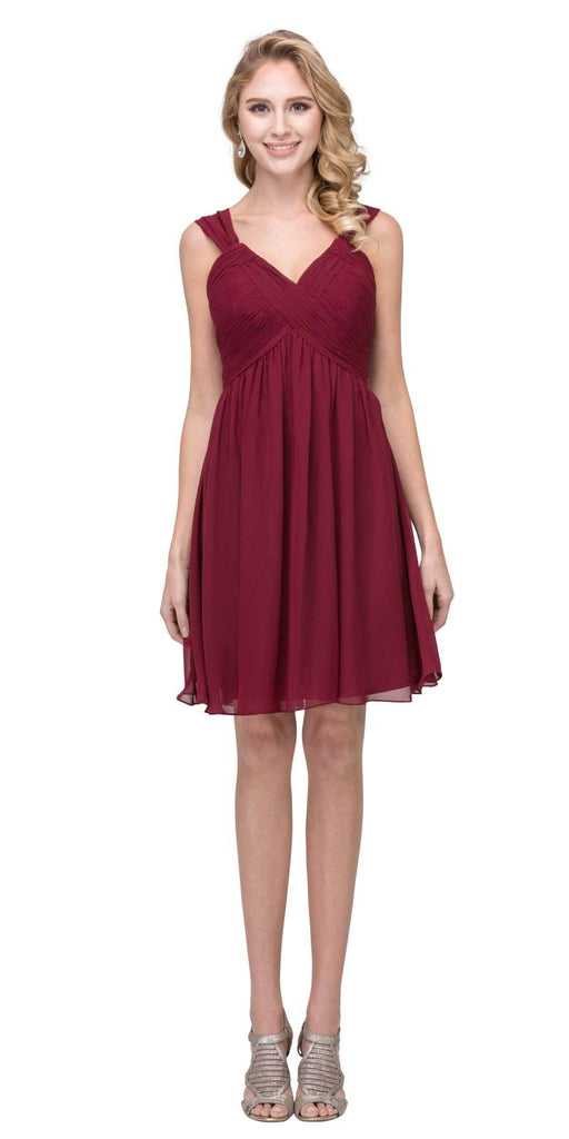 Short Empire Waist Cocktail Dress Lace-Up Back Burgundy