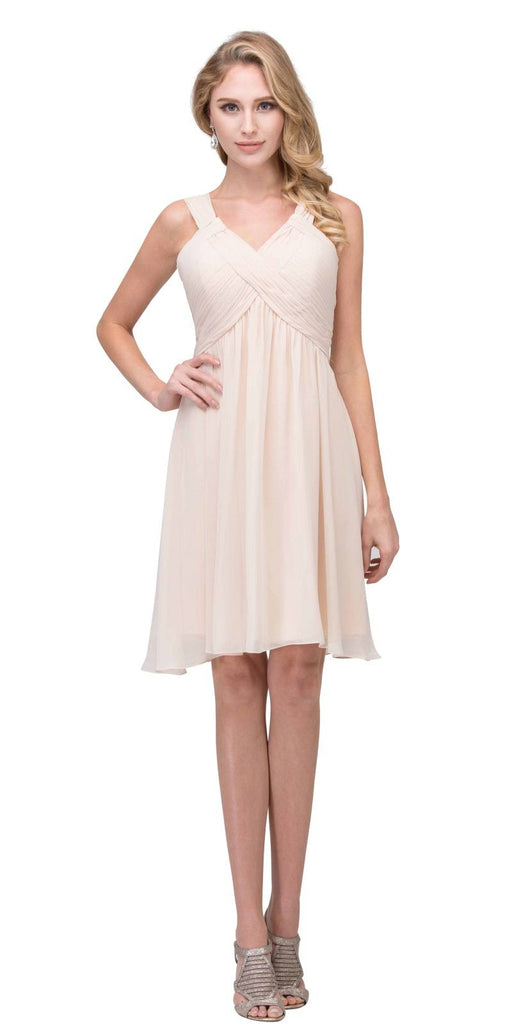 Short Empire Waist Cocktail Dress Lace-Up Back Champagne