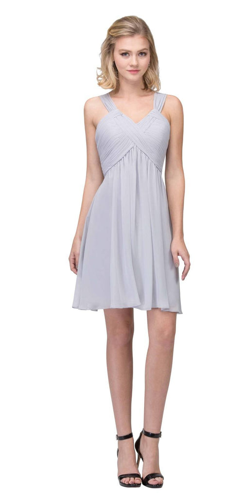 Short Empire Waist Cocktail Dress Lace-Up Back Silver