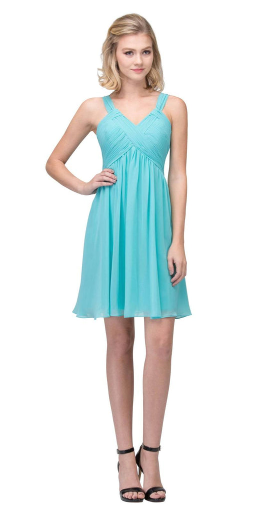 Short Empire Waist Cocktail Dress Lace-Up Back Tiffany Blue