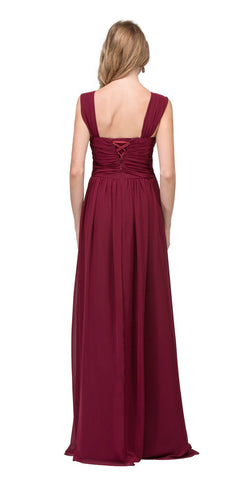 A-line Long Formal Dress Ruched Bodice Lace-Up Back Burgundy