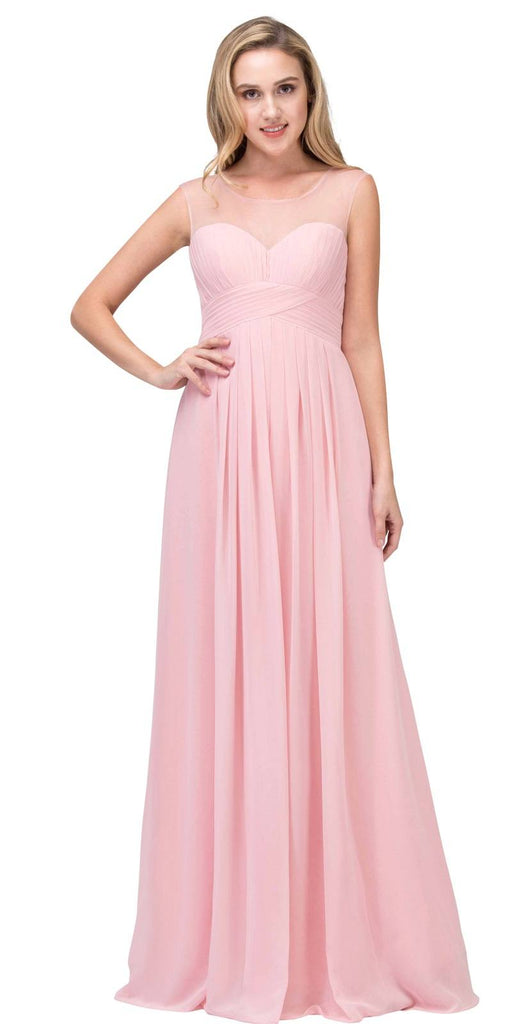 Illusion Ruched Bodice A-line Long Formal Dress Blush