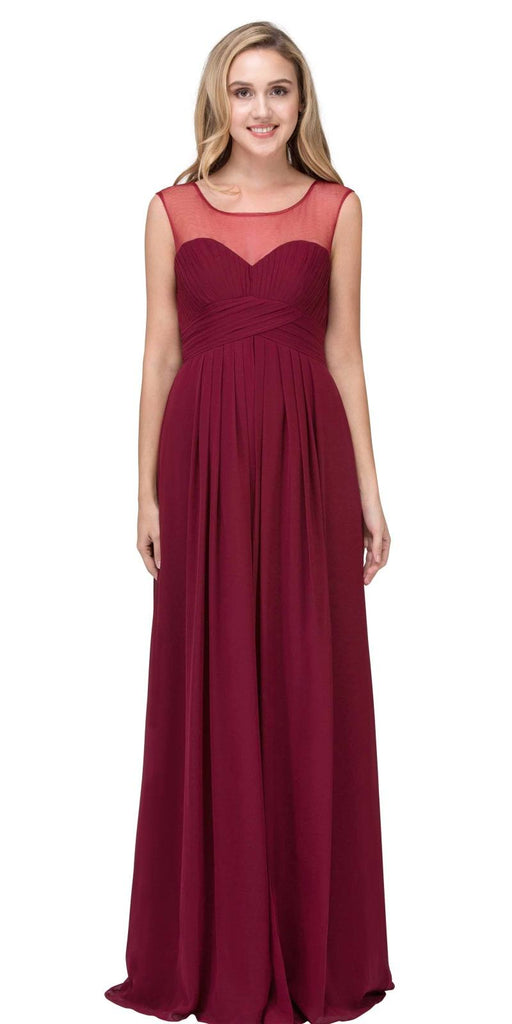 Illusion Ruched Bodice A-line Long Formal Dress Burgundy