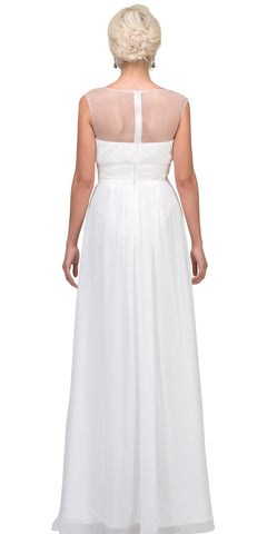 Illusion Ruched Bodice A-line Long Formal Dress Off White