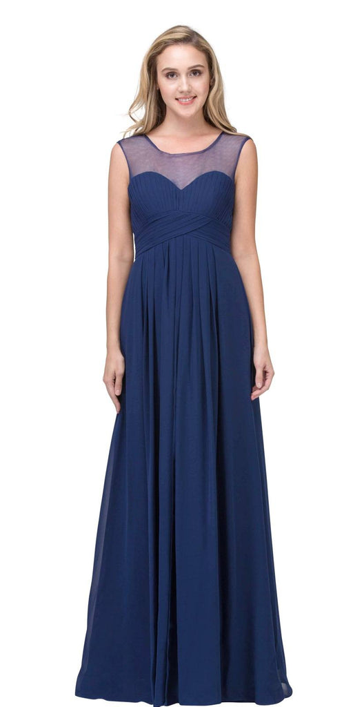 Illusion Ruched Bodice A-line Long Formal Dress Navy Blue