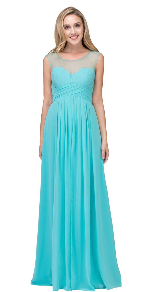 Illusion Ruched Bodice A-line Long Formal Dress Tiffany Blue