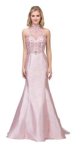 Blush Tiered Back Mermaid Long Prom Dress High Neckline