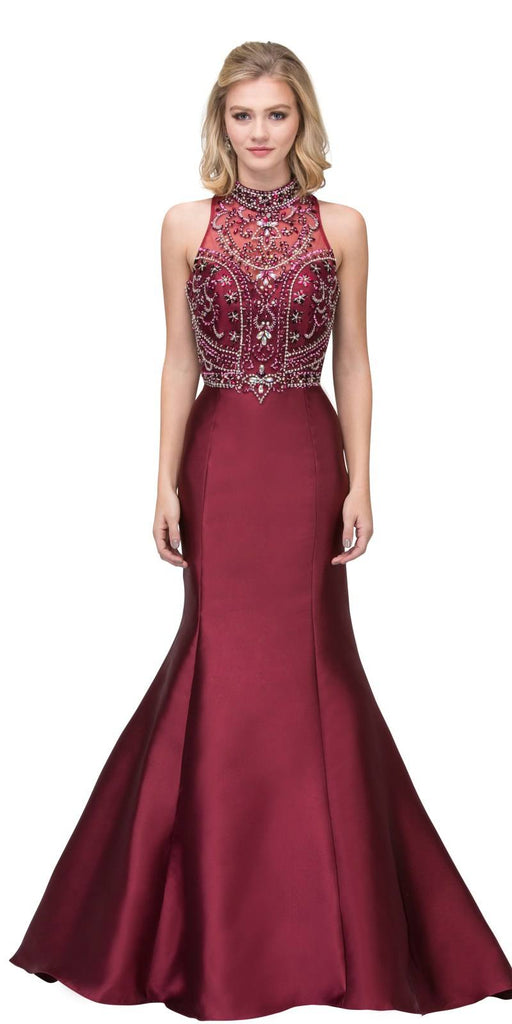 Burgundy Tiered Back Mermaid Long Prom Dress High Neckline