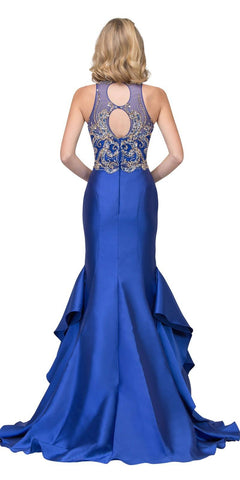 Royal Blue Tiered Mermaid Prom Gown with Keyhole Back
