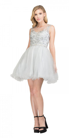 Starbox USA 17306 Illusion Appliqued Bodice Short Homecoming Dress Silver