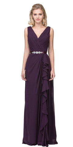 V-Neck Long Formal Dress Embellished Waist Eggplant