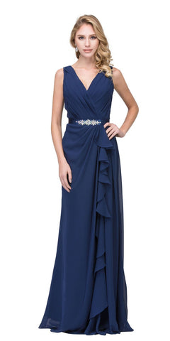 V-Neck Long Formal Dress Embellished Waist Navy Blue