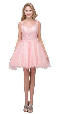 Starbox USA 17308 Blush Homecoming Short Dress Appliqued Bodice