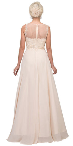 Champagne Appliqued Bodice A-line Long Formal Dress Back View