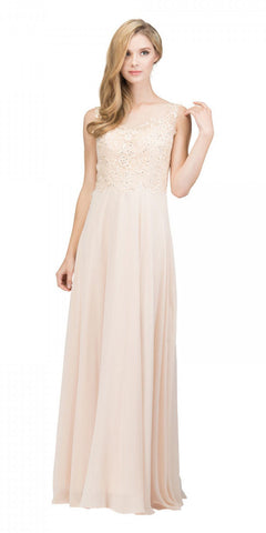 Champagne Appliqued Bodice A-line Long Formal Dress