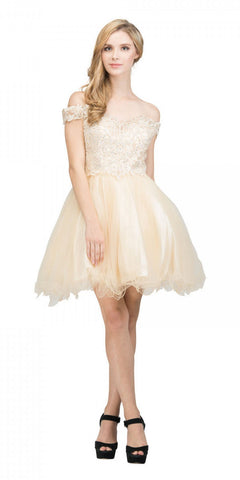 Starbox USA 17313 Champagne Off-Shoulder Homecoming Short Dress