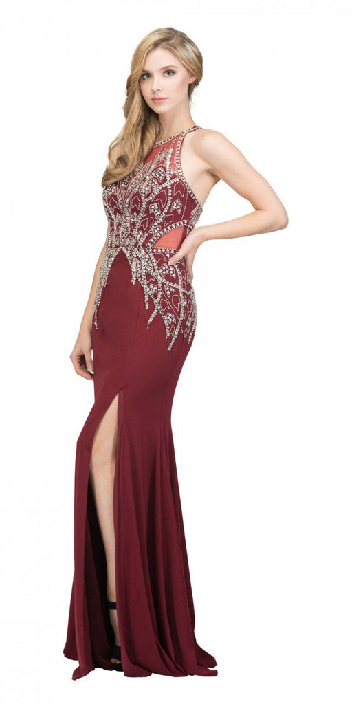 Starbox USA 17314 Burgundy Beaded Long Prom Dress Racer Back with Slit