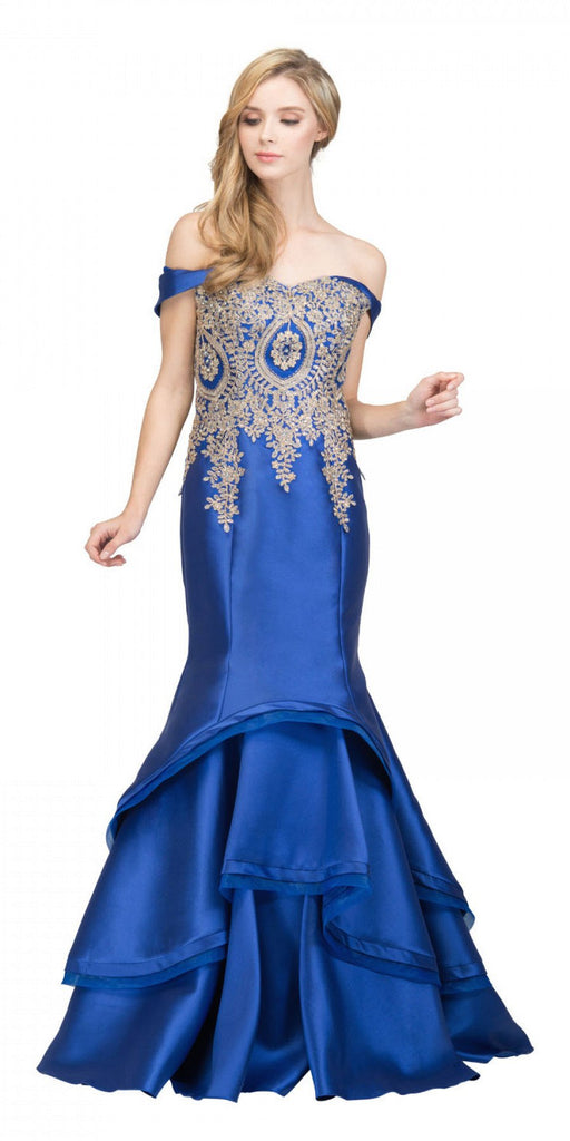 Starbox USA 17316 Royal Blue Off-Shoulder Tiered Mermaid Prom Gown with Appliques
