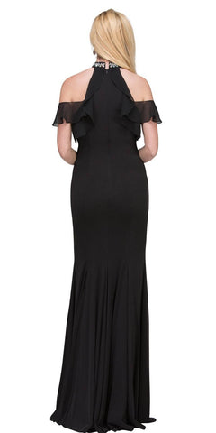 Black Cold-Shoulder Long Prom Dress High Neckline Back View
