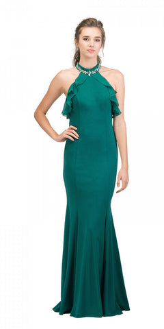 Hunter Green Cold-Shoulder Long Prom Dress High Neckline