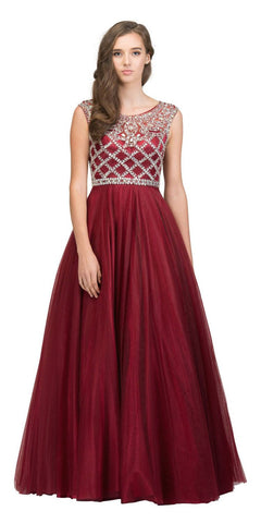 Beaded Ball Gown Cut-Out Back Burgundy