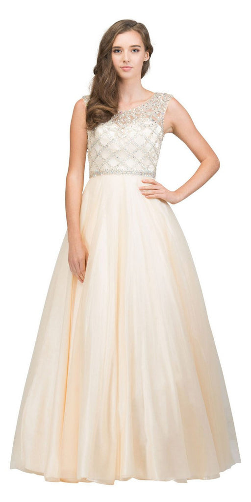 Beaded Ball Gown Cut-Out Back Champagne