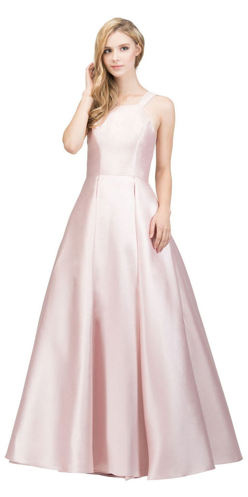 Blush A-line Long Prom Dress with Cut-In Shoulder