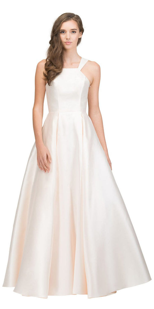 Champagne A-line Long Prom Dress with Cut-In Shoulder