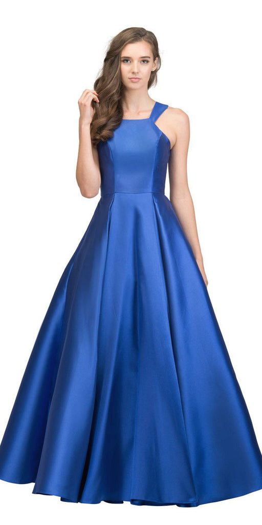 Royal Blue A-line Long Prom Dress with Cut-In Shoulder
