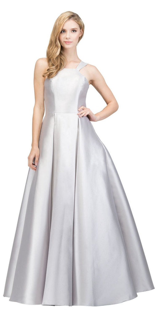 Silver A-line Long Prom Dress with Cut-In Shoulder