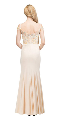 Embellished Long Formal Dress with Cold-Shoulder Champagne