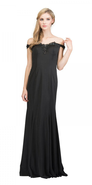Starbox USA 17404 Appliqued Off-Shoulder Long Formal Dress Black