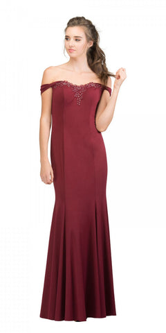 Starbox USA 17404 Appliqued Off-Shoulder Long Formal Dress Burgundy