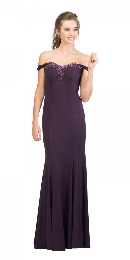 Starbox USA 17404 Appliqued Off-Shoulder Long Formal Dress Eggplant