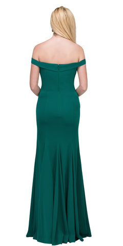 Appliqued Off-Shoulder Long Formal Dress Hunter Green Back View