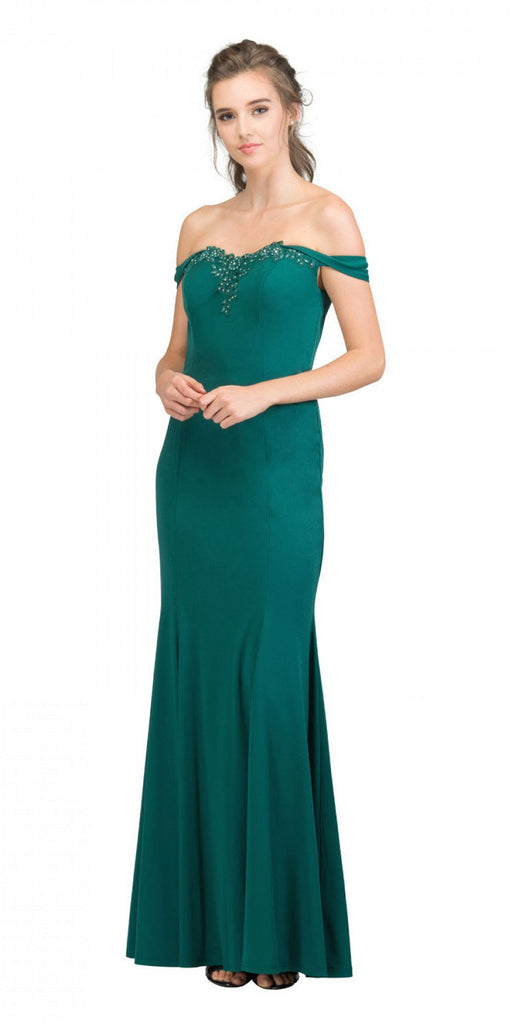 Appliqued Off-Shoulder Long Formal Dress Hunter Green