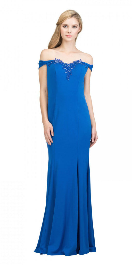 Starbox USA 17404 Appliqued Off-Shoulder Long Formal Dress Royal Blue