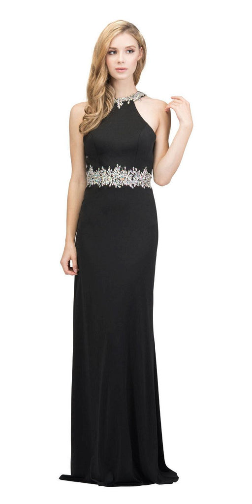 Black Halter Long Prom Gown with Keyhole Back