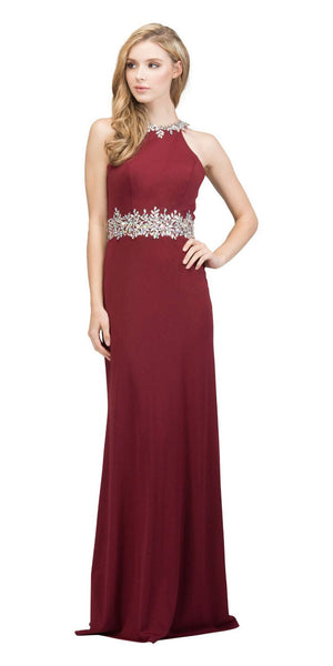 Burgundy Halter Long Prom Gown with Keyhole Back