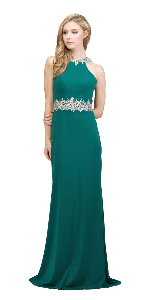 Emerald Halter Long Prom Gown with Keyhole Back