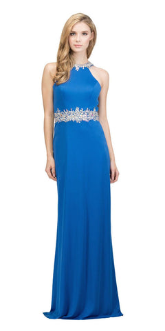 Royal Blue Halter Long Prom Gown with Keyhole Back