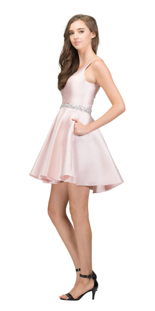 V-Neck Homecoming Short Dress with Pockets Blush