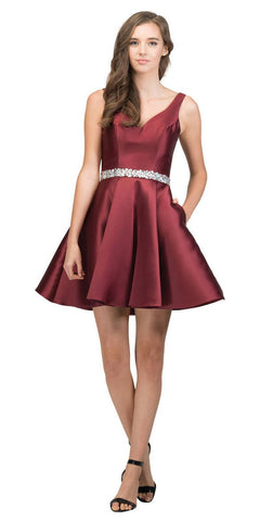V-Neck Homecoming Short Dress with Pockets Burgundy