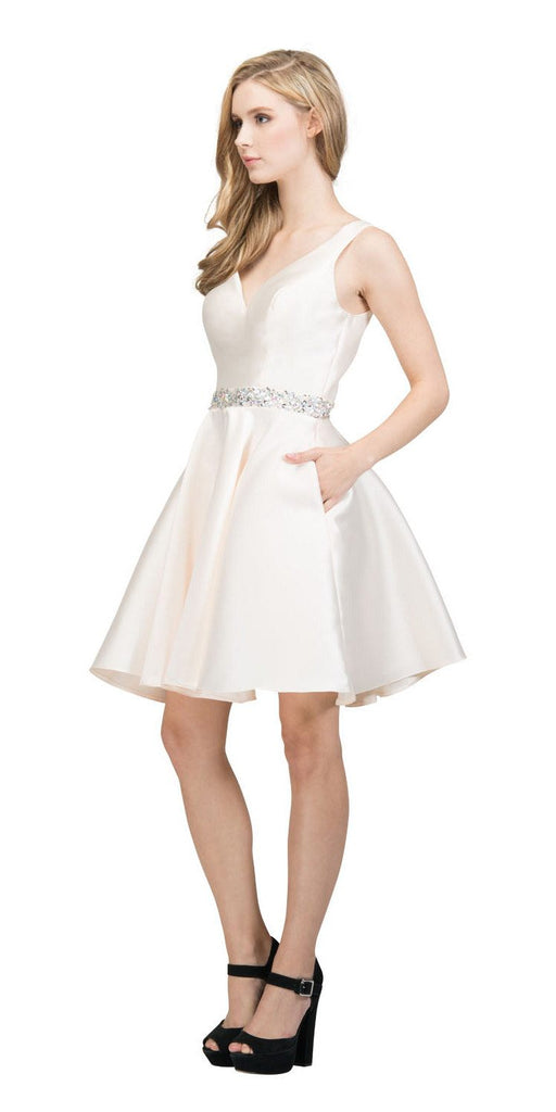 V-Neck Homecoming Short Dress with Pockets Champagne