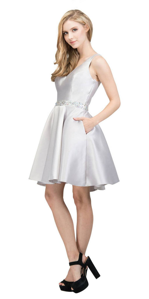 V-Neck Homecoming Short Dress with Pockets Silver