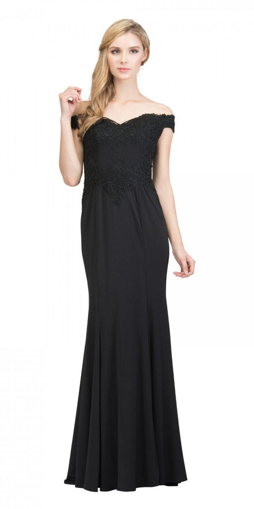 Starbox USA 17421 Off Shoulder Long Formal Gown Appliqued Bodice Black