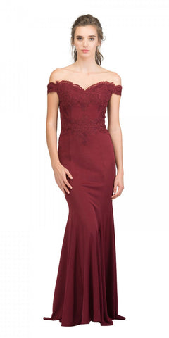 Starbox USA 17421 Off Shoulder Long Formal Gown Appliqued Bodice Burgundy
