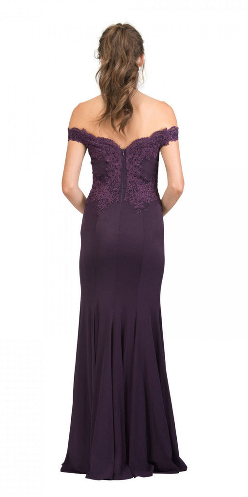 Starbox USA 17421 Off Shoulder Long Formal Gown Appliqued Bodice Eggplant Back View