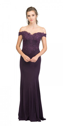 Starbox USA 17421 Off Shoulder Long Formal Gown Appliqued Bodice Eggplant