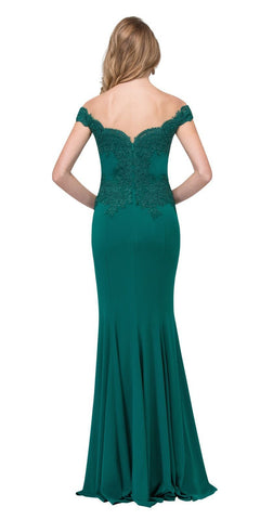 Off Shoulder Long Formal Gown Appliqued Bodice Hunter Green Back View